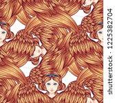 seraph  six winged angel.... | Shutterstock .eps vector #1225382704