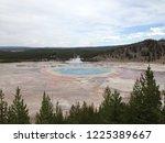 old faithful legendary geyser... | Shutterstock . vector #1225389667