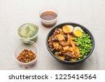 potato sirloin rice set meal | Shutterstock . vector #1225414564