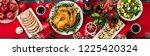 baked turkey. christmas dinner. ... | Shutterstock . vector #1225420324