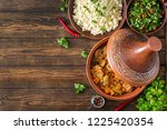 traditional tajine dishes ... | Shutterstock . vector #1225420354