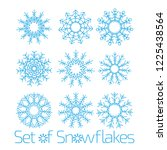 set of snowflakes for the... | Shutterstock .eps vector #1225438564