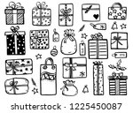 christmas doodles   collection... | Shutterstock .eps vector #1225450087