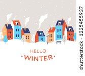winter city landscape. snowy... | Shutterstock .eps vector #1225455937