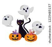 halloween black cat with... | Shutterstock .eps vector #1225485157