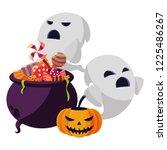 halloween pumpkin with cauldron ... | Shutterstock .eps vector #1225486267