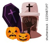 happy halloween coffin icon | Shutterstock .eps vector #1225487197