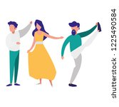 young couple dancing flamenco | Shutterstock .eps vector #1225490584