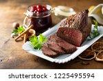 roast beef with spicy berry...   Shutterstock . vector #1225495594