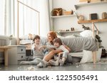 young family resting together... | Shutterstock . vector #1225505491