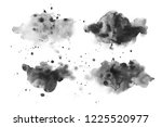 black watercolor stains on a... | Shutterstock . vector #1225520977