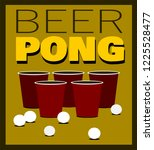 beer pong design with cups and... | Shutterstock .eps vector #1225528477