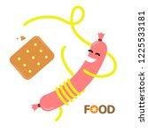 dance food. pasta sausage... | Shutterstock .eps vector #1225533181