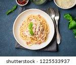 carbonara pasta. spaghetti with ... | Shutterstock . vector #1225533937