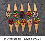 Top View On Waffle Cones With...