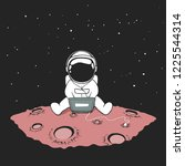 cute an astronaut sits in... | Shutterstock .eps vector #1225544314