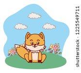 fox sitting in grassy lanscape... | Shutterstock .eps vector #1225549711