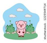 pig in bushy landscape cartoon | Shutterstock .eps vector #1225549714