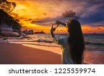 summer lifestyle traveler woman ... | Shutterstock . vector #1225559974