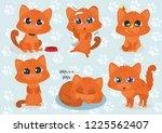 ginger cat sticker | Shutterstock .eps vector #1225562407