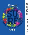 hawaii surf t shirt design... | Shutterstock .eps vector #1225583857