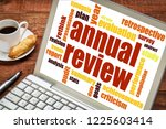 annual review word cloud on a... | Shutterstock . vector #1225603414