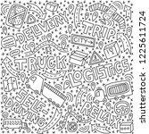self driving truck doodle... | Shutterstock .eps vector #1225611724