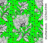 doodles black  green and white... | Shutterstock . vector #1225614544