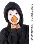 boy with animal face paint... | Shutterstock . vector #1225623577