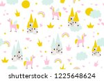 cute baby seamless pattern with ... | Shutterstock .eps vector #1225648624
