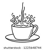 splash in coffee cup. vector... | Shutterstock .eps vector #1225648744