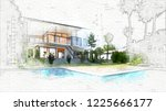 architecture sketch of house  ... | Shutterstock . vector #1225666177
