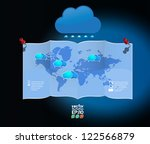 world map with cloud speech... | Shutterstock .eps vector #122566879