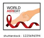 shaking hands and red ribbon to ... | Shutterstock .eps vector #1225696594