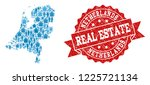 real estate collage of blue... | Shutterstock .eps vector #1225721134