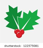 Christmas card decoration - isolated holly berry symbol or icon - stock vector