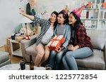 best girlfriends sharing happy...   Shutterstock . vector #1225772854