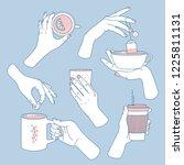 women hands set. hands holding... | Shutterstock .eps vector #1225811131