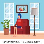 woman with winter clothes in... | Shutterstock .eps vector #1225815394