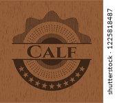 calf wooden emblem. vintage. | Shutterstock .eps vector #1225818487
