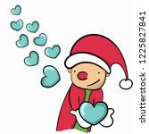 a happy santa clause sending... | Shutterstock .eps vector #1225827841