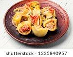 italian style stuffed pasta... | Shutterstock . vector #1225840957