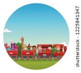 kids riding on train   Shutterstock .eps vector #1225841347
