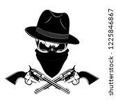 gangster skull with revolvers... | Shutterstock .eps vector #1225846867