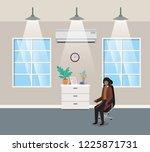 corridor office with black...   Shutterstock .eps vector #1225871731