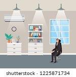 corridor office with...   Shutterstock .eps vector #1225871734