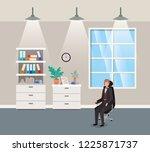 corridor office with...   Shutterstock .eps vector #1225871737