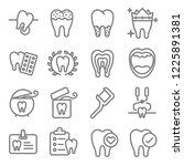 dental vector line icon set.... | Shutterstock .eps vector #1225891381