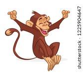 cute monkey chimpanzee flat...   Shutterstock .eps vector #1225904647