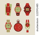 collection of woman and man watches vector illustration eps 10 - stock vector